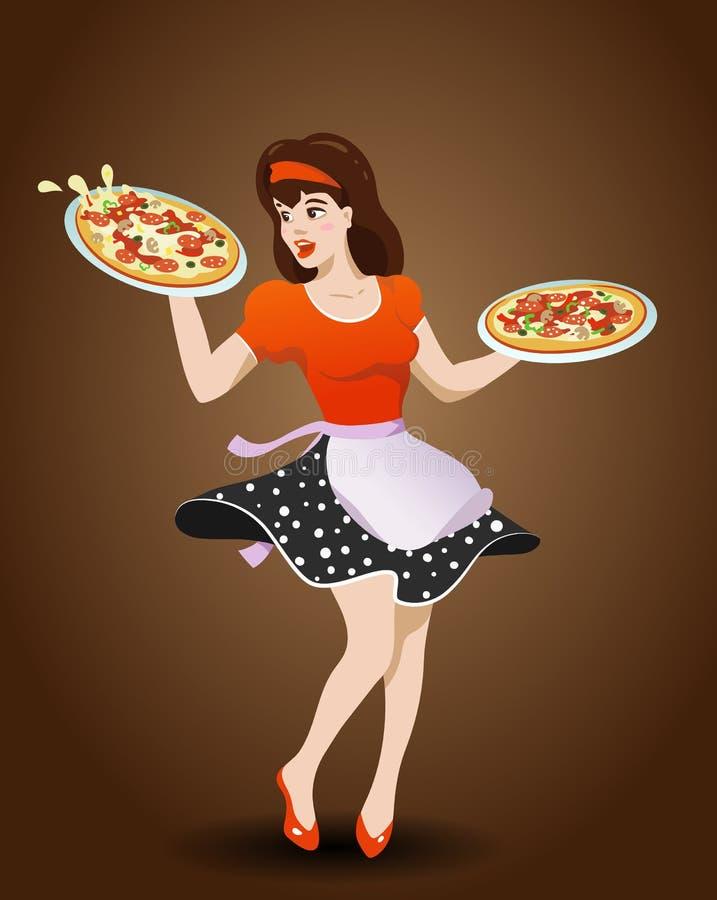 Download Camarera De La Historieta Con Dos Pizzas Stock de ilustración - Ilustración de contacto, cocina: 100532292