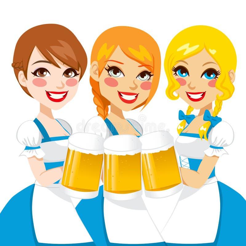 Camarera hermosa de Oktoberfest stock de ilustración