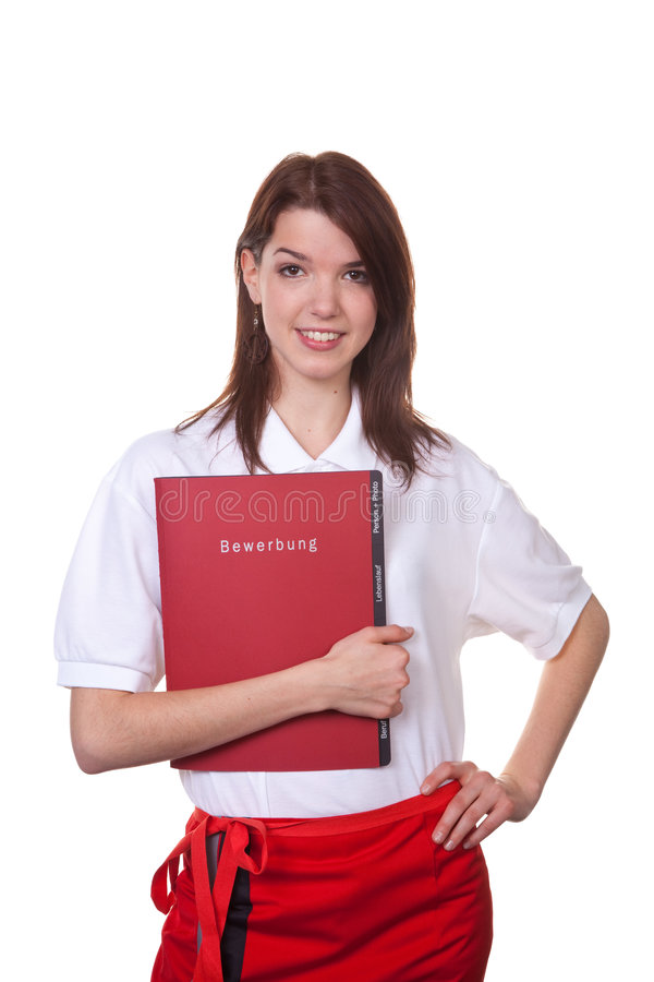 Camarera joven con su carpeta de la aplicación imagen de archivo libre de regalías