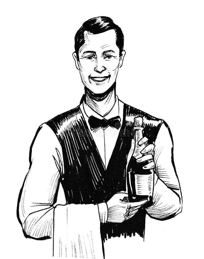 Camarero con el vino ilustración del vector
