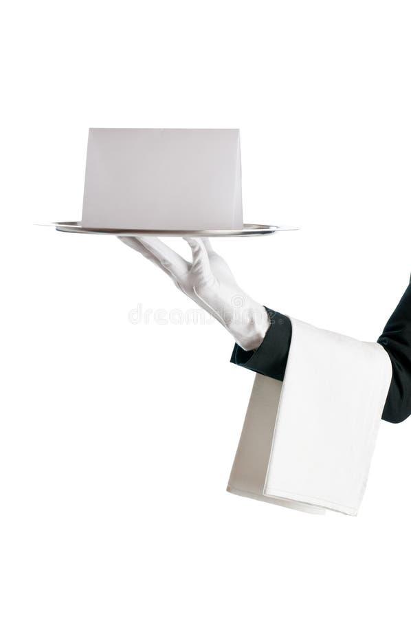 Camarero con la muestra en blanco imágenes de archivo libres de regalías