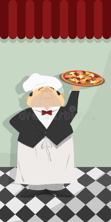 Camarero con la pizza italiana contra la pared del restaurante VE imagen de archivo