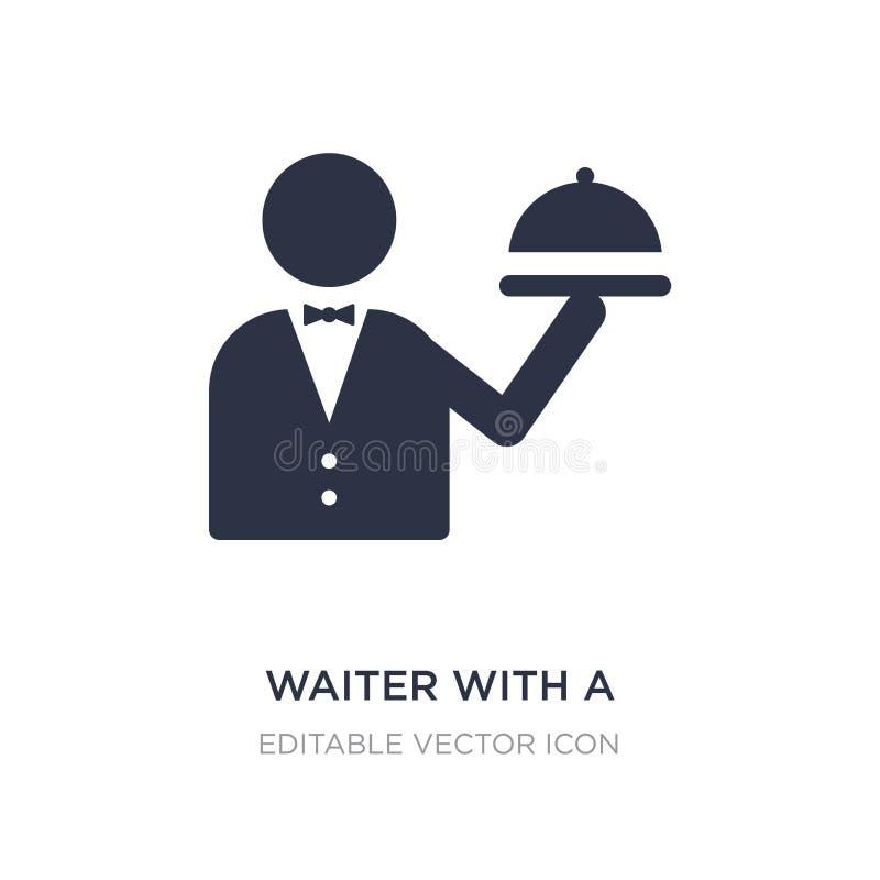camarero con un icono del pollo asado en el fondo blanco Ejemplo simple del elemento del concepto de la comida libre illustration