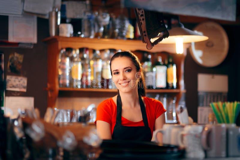 Camarero de sexo femenino alegre Working Behind el contador foto de archivo libre de regalías