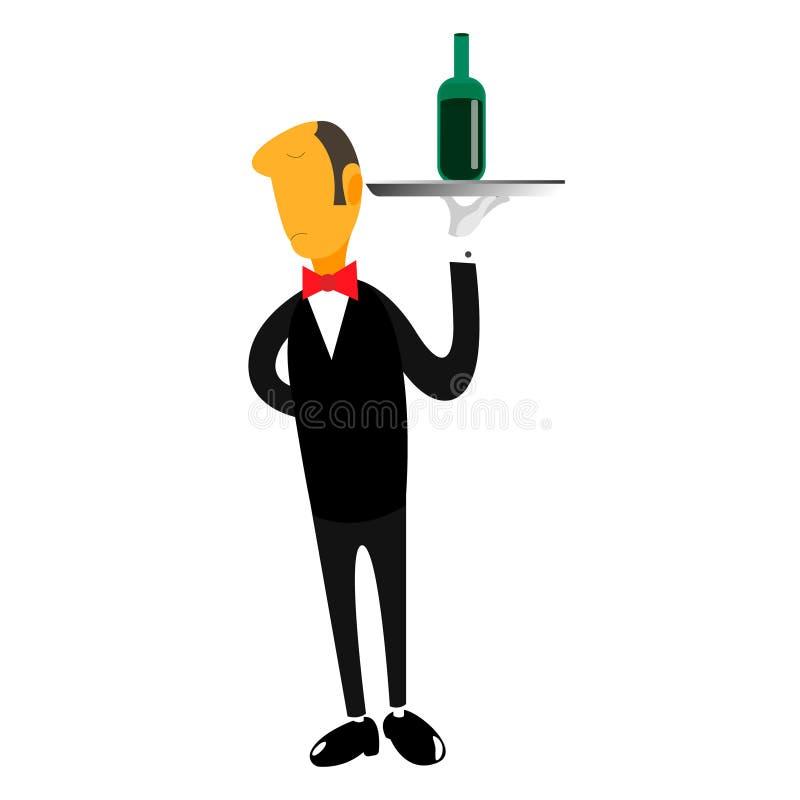 Camarero del ejemplo del vector con el vino libre illustration