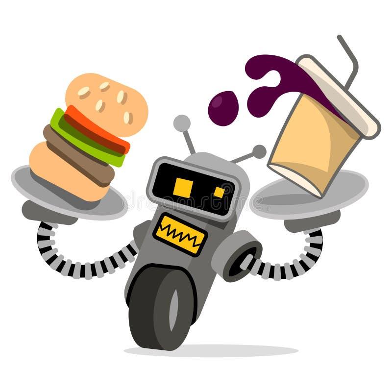 Camarero del robot con vector de la bandeja y de la comida stock de ilustración