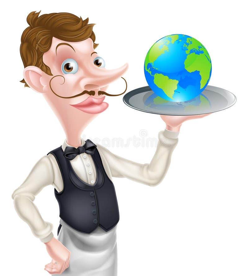 Camarero Holding Globe libre illustration