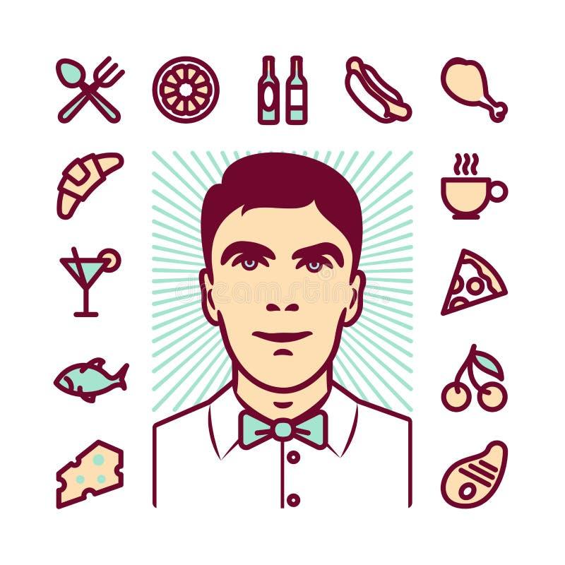 Camarero Icons del restaurante stock de ilustración