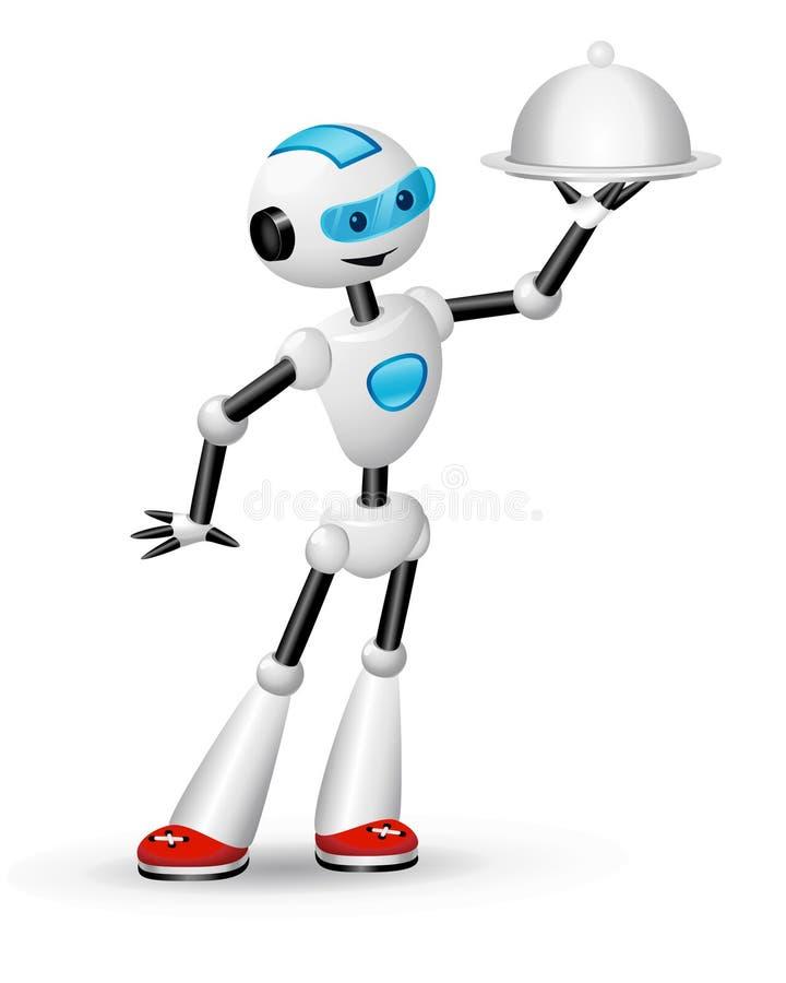 Camarero lindo del robot con la campana de cristal stock de ilustración