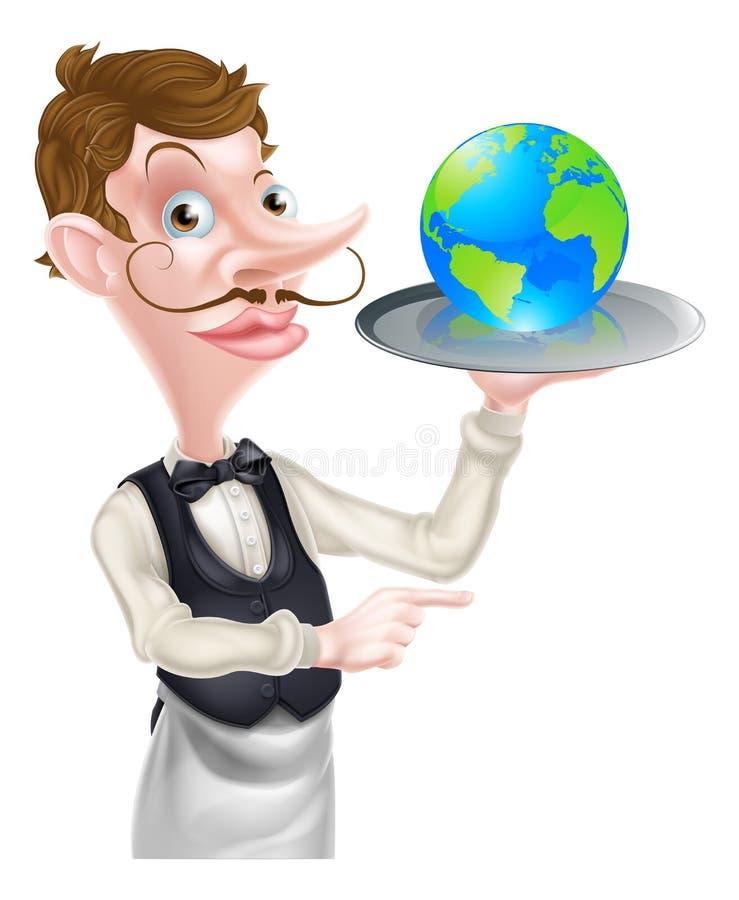 Camarero Pointing del globo stock de ilustración