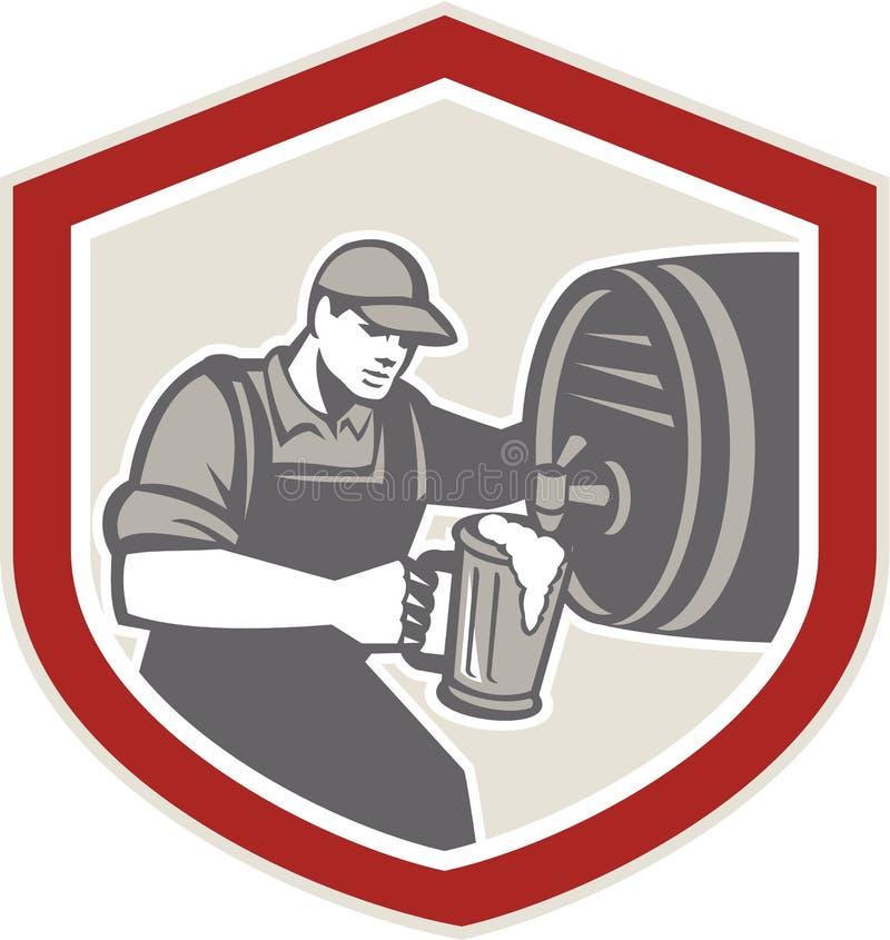 Camarero Pouring Beer Ale Barrel Retro stock de ilustración