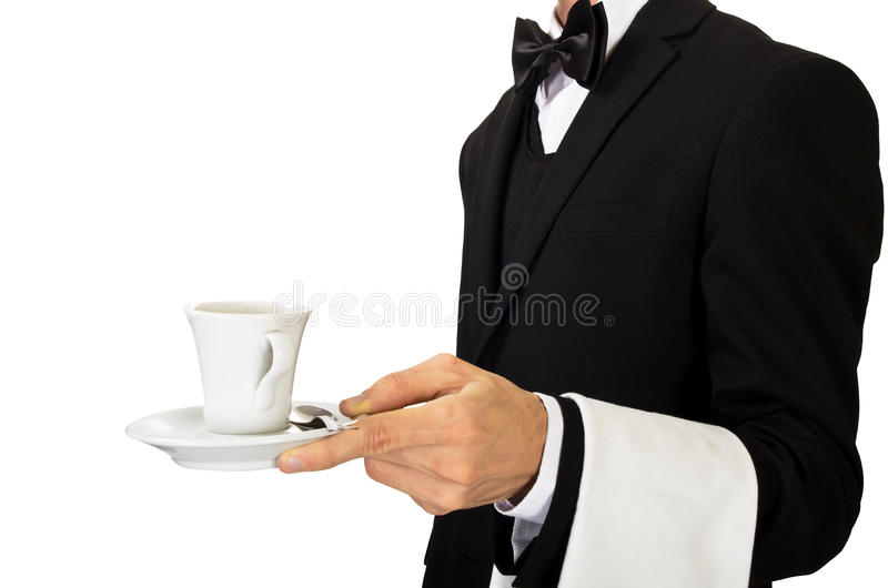 Camarero que sirve el café caliente imagenes de archivo