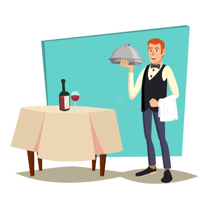 Camarero Serving Vector Café moderno de Reserved Table In del camarero, restaurante Ejemplo plano de la historieta ilustración del vector