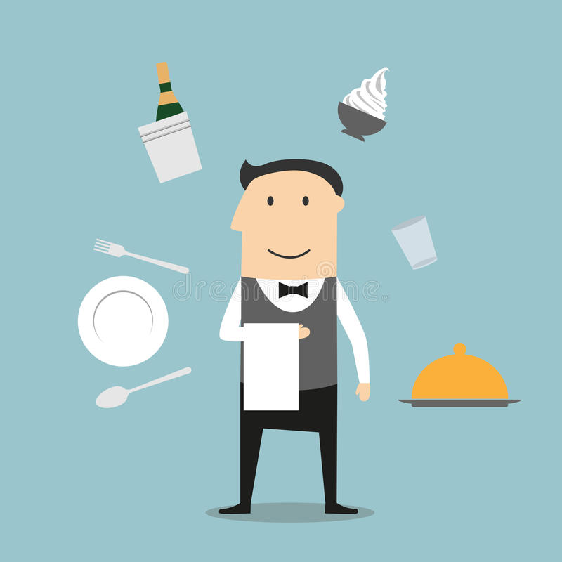 Camarero, utensilio del restaurante e iconos de la comida stock de ilustración