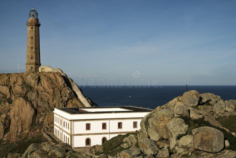 CAMARIÃ'AS,西班牙- 2016年12月17日:Vilà ¡ n海角灯塔的看法在Da Morte海岸的在加利西亚,西班牙 库存图片