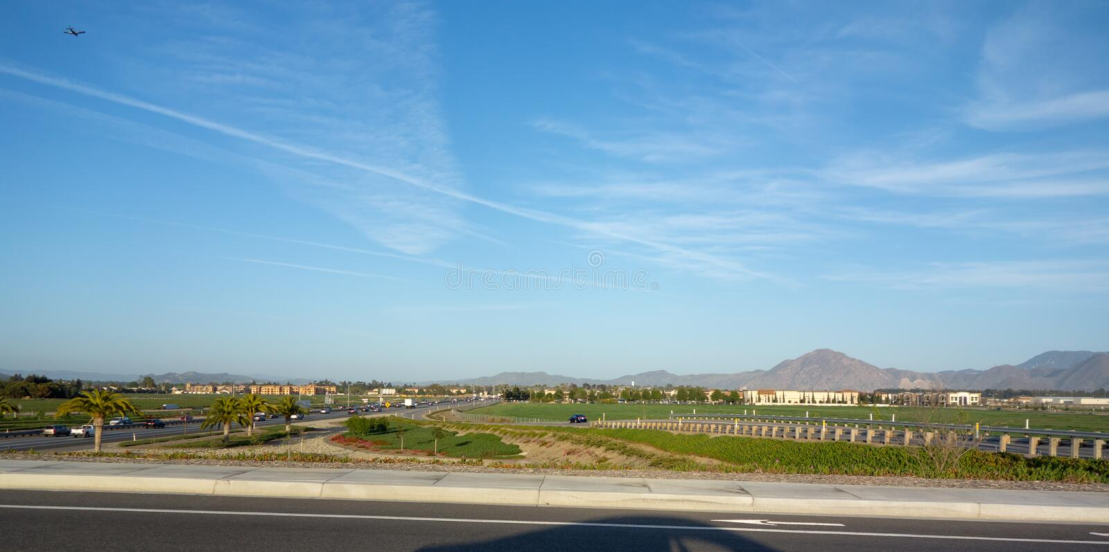 Camarillo North Side, CA. City of Camarillo as seen from its North side along State highway 101, Ventura county, California stock image