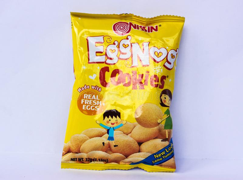 Eggnog Cookies. Camarines Sur, PHILIPPINES - JAN. 27, 2017. A close-up photo of Eggnog Cookies by Nissin brand from the Philippines royalty free stock image