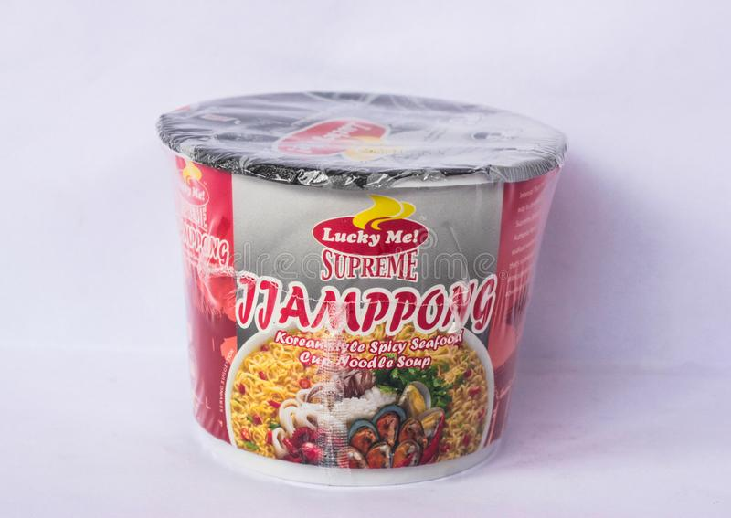 Lucky Me Supreme Jjamppong. Camarines Sur, PHILIPPINES - JAN. 27, 2017. A close-up photo of Lucky Me Supreme, Jjamppong, Korean-style spicy seafood, Cup Noodle royalty free stock photos