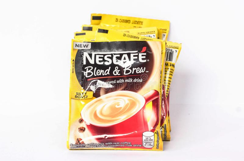 Nescafe Blend and Brew. Camarines Sur, PHILIPPINES - JAN. 27, 2017. A close-up photo of Nescafe Blend and Brew from the Philippines stock photo