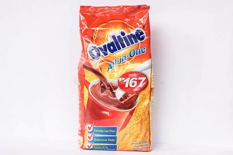 Ovaltine Chocolate Drink. Camarines Sur, PHILIPPINES - JAN. 27, 2017. A close-up photo of Ovaltine Chocolate Drink All in One by AB Food and Beverages Phils. Inc royalty free stock photography