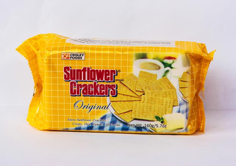 Sunflower Crackers. Camarines Sur, PHILIPPINES - JAN. 27, 2017. A close-up photo of a pack of Sunflower Crackers Original Flavor by Croley Foods from the royalty free stock photo