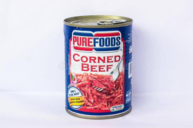 Purefoods Corned Beef. Camarines Sur, PHILIPPINES - JAN. 27, 2017. A close-up photo of Purefoods Corned Beef by San Miguel Pure Foods from the Philippines royalty free stock photography