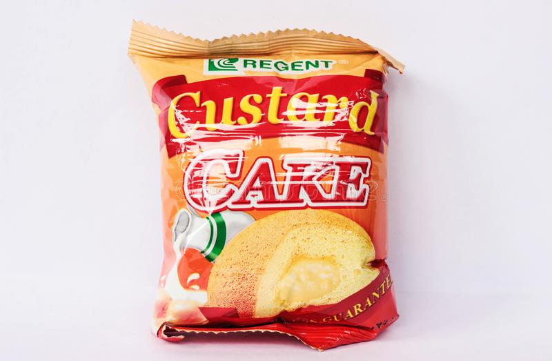 Rengent Custard Cake. Camarines Sur, PHILIPPINES - JAN. 27, 2017. A close-up photo of Rengent Custard Cake by Regent brand from the Philippines stock photography