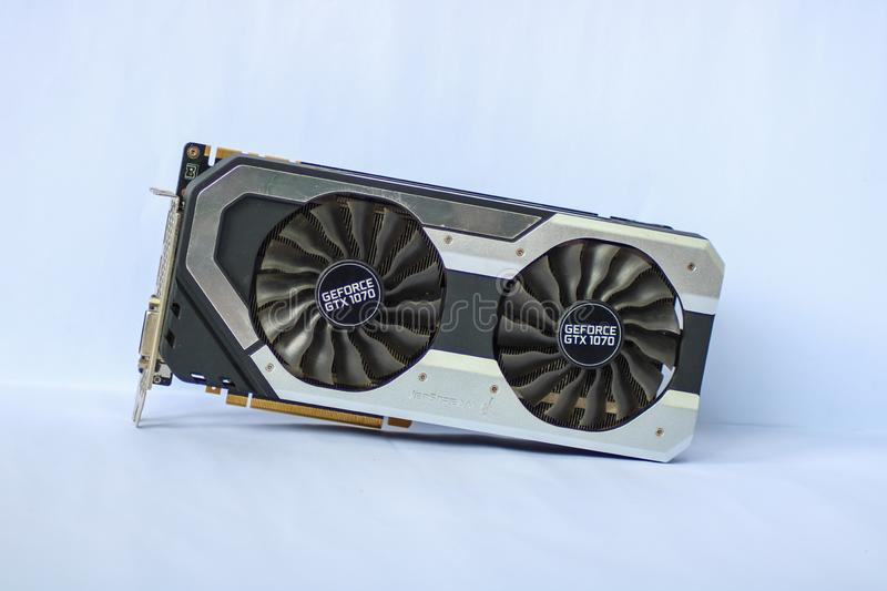 Used Palit GeForce GTX 1070 Dual showing the front side of the Graphics Card Unit. CAMARINES SUR, PHILIPPINES - OCT 28, 2018: A used Palit GeForce GTX 1070 Dual royalty free stock photo