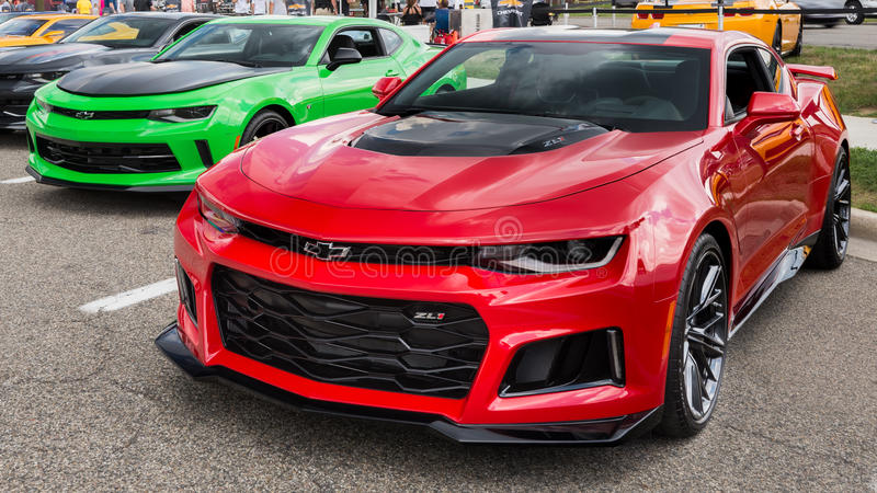 2016 Camaro ZL1 at the `50 Years of Camaro` exhibit, Woodward Dream Cruise, MI royalty free stock photography