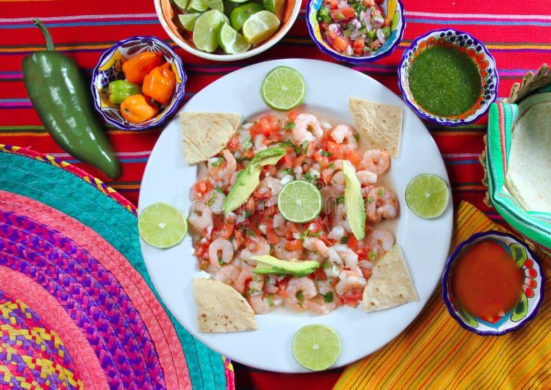 Camaron shrimp ceviche raw seafood salad Mexico stock photo