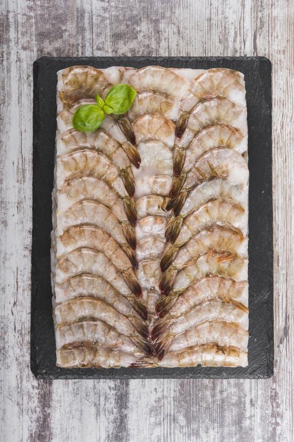 Camarones congelados del tigre Fondo Modelo del camarón imagen de archivo libre de regalías