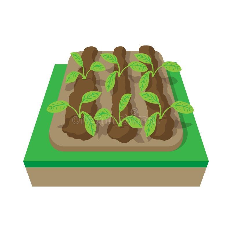 Camas con el icono de la historieta de las plantas ilustración del vector