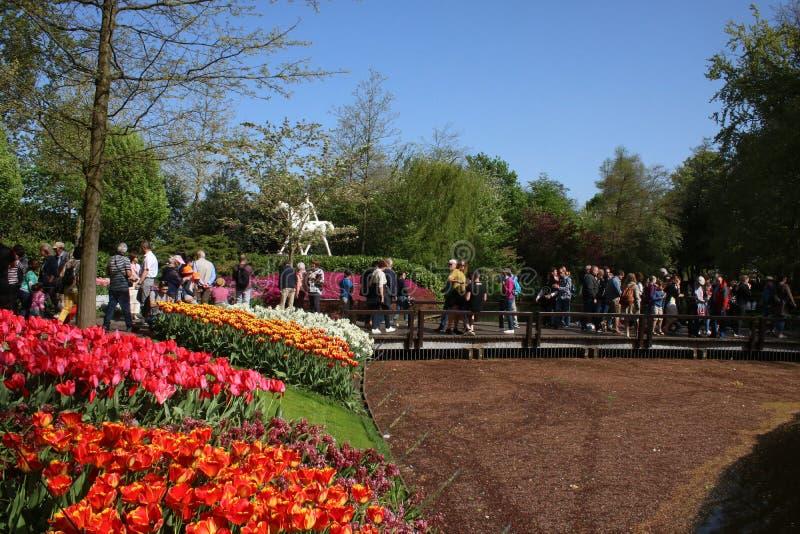 Camas de tulipa, jardins de Keukenhof, povos e estátua imagens de stock royalty free