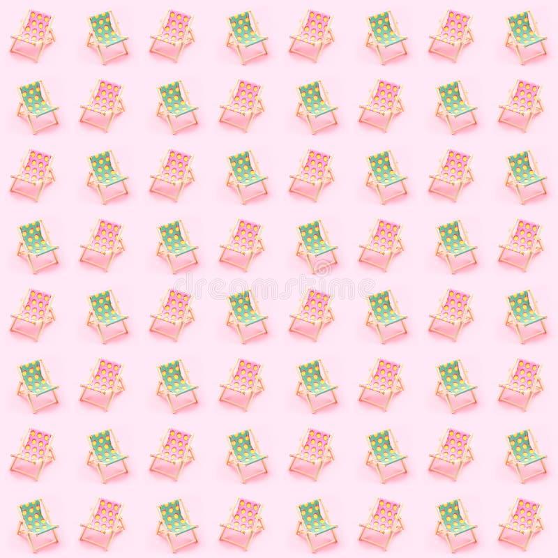 camas do sol sobre o fundo cor-de-rosa As férias de verão comeram o conceito do lado de mar ilustração royalty free