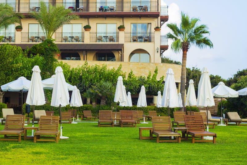 Camas e guarda-chuvas de madeira do sol no gramado com grama verde imagem de stock royalty free