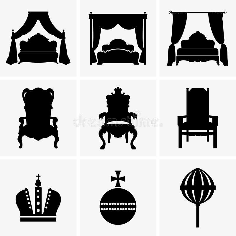 Camas y tronos del rey ilustración del vector. Ilustración de real ...