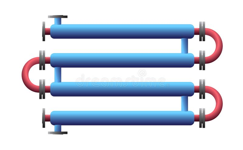 Cambiador de calor del tubo doble Aparato para el proceso de la sustancia qu?mica Tubo-en-tubo, tubo en cambiador de calor de la  ilustración del vector
