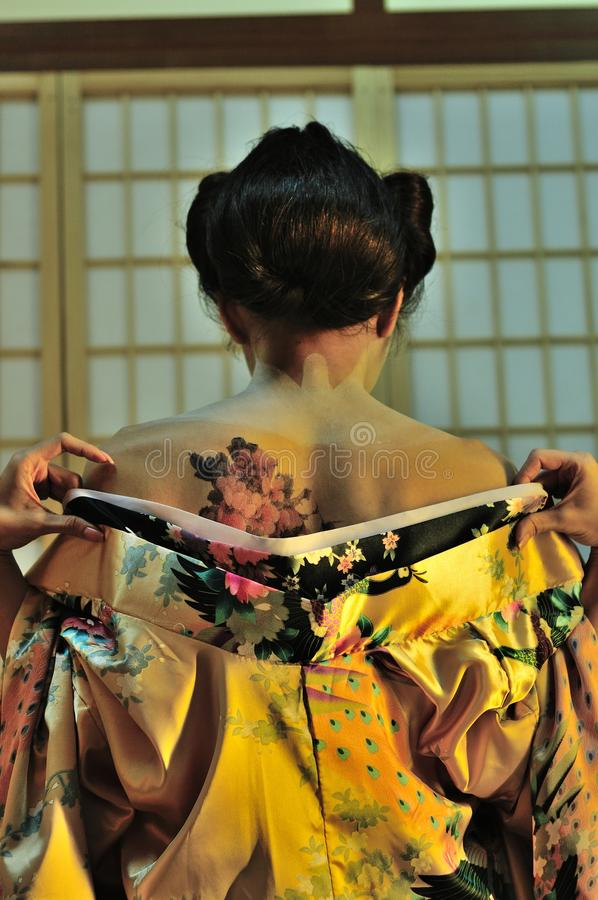 Cambiamento della geisha fotografia stock libera da diritti