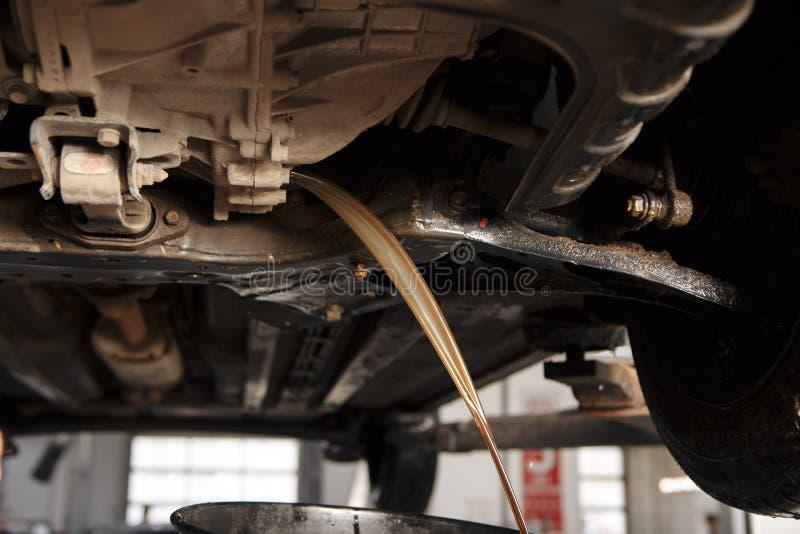 Cambiamento di olio nella trasmissione automatica Riempimento dell'olio tramite il tubo flessibile Stazione di manutenzione dell' fotografia stock libera da diritti