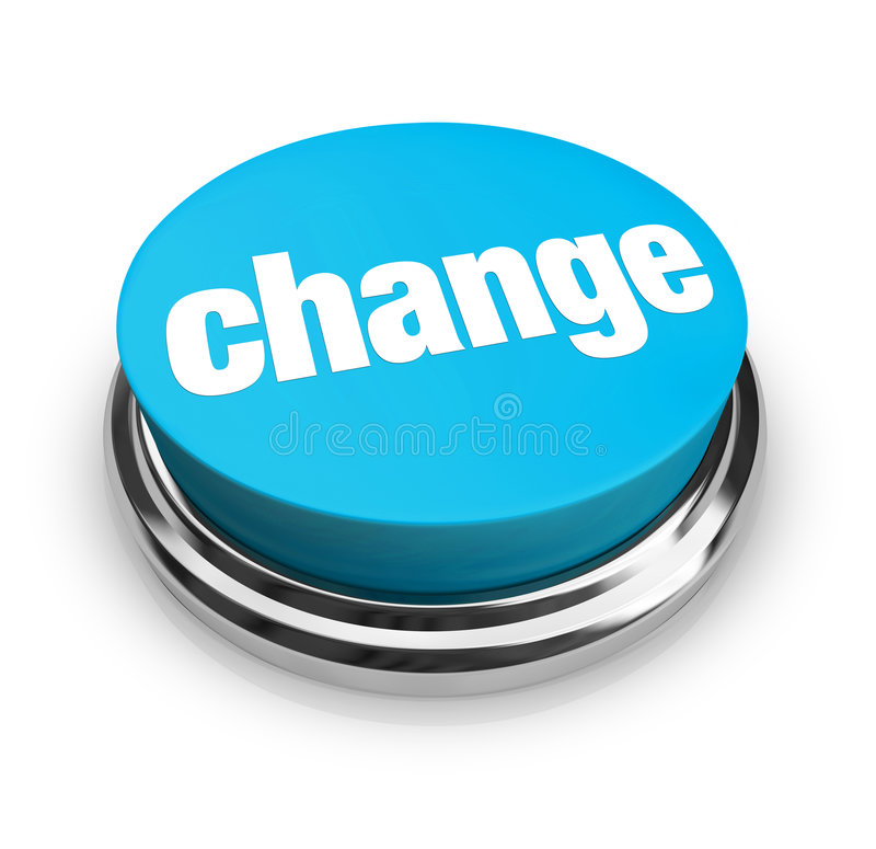 Cambiamento - tasto blu illustrazione di stock