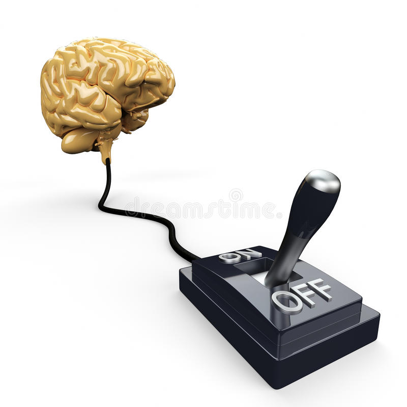 Cambie atado al cerebro humano ilustración del vector