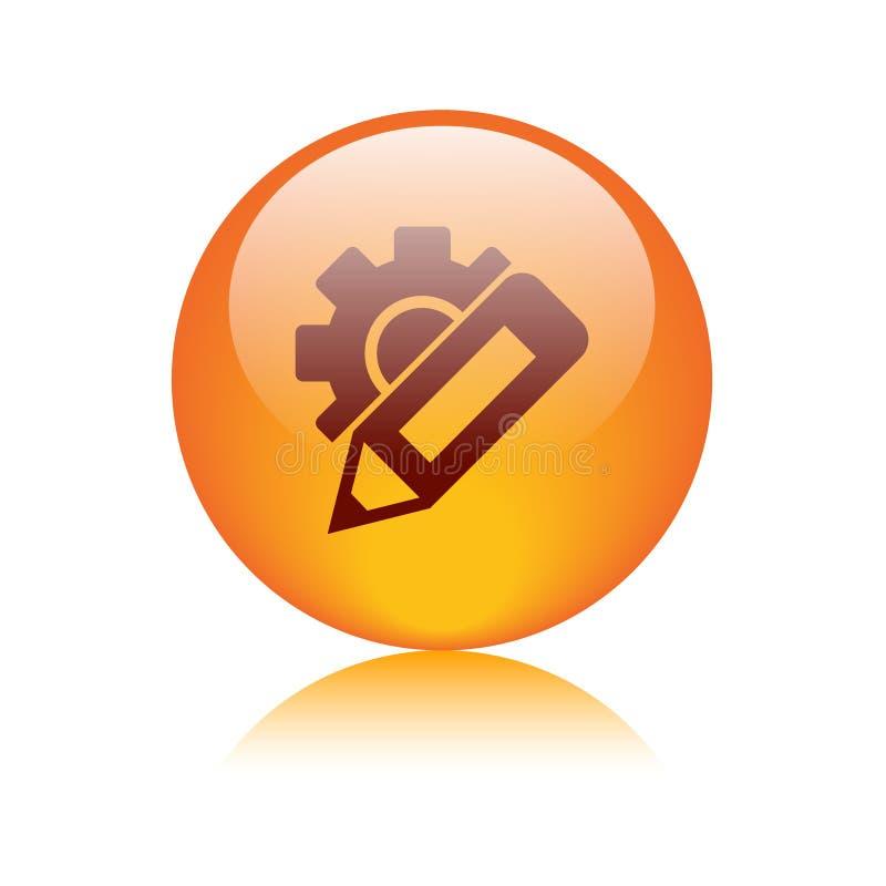 Cambie el botón del icono de los ajustes stock de ilustración