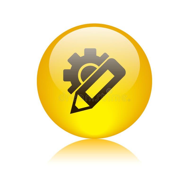 Cambie el botón del icono de los ajustes ilustración del vector