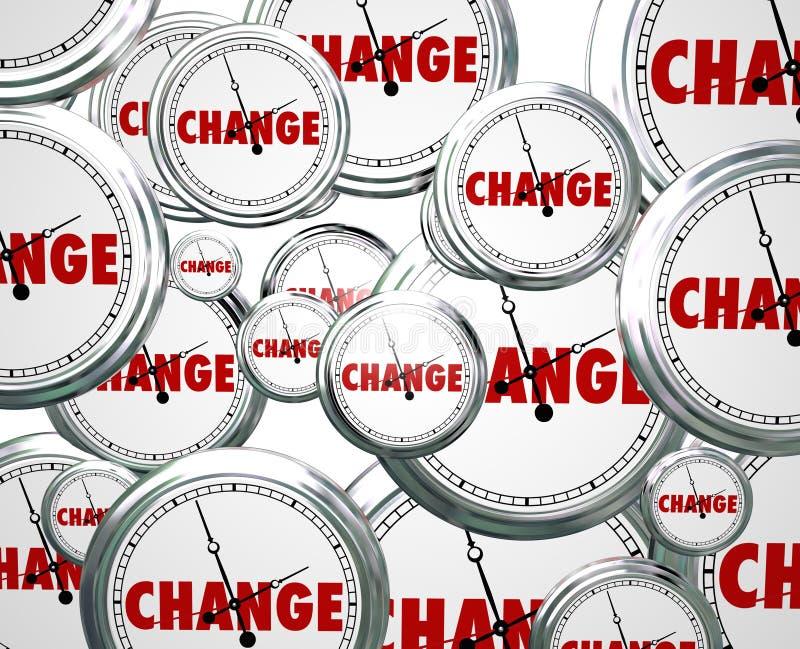 Cambie el tiempo de relojes por los marzos futuros de la evolución de la innovación encendido stock de ilustración