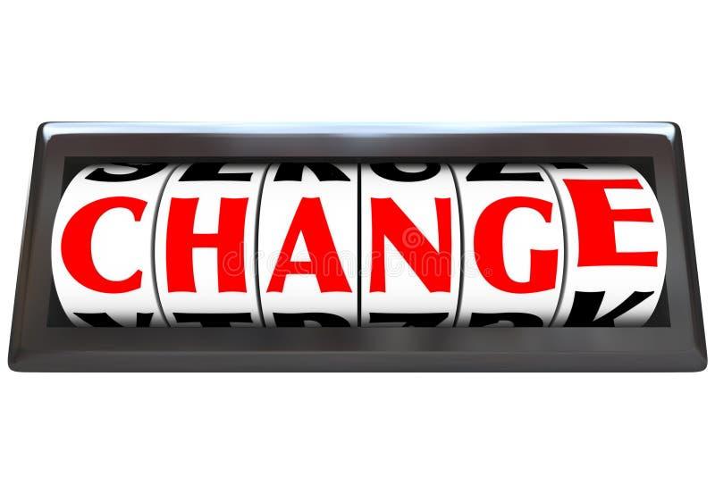 Cambie la palabra en los diales del odómetro stock de ilustración