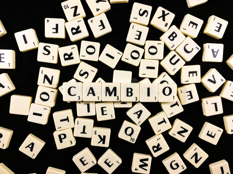 Cambio word spelled with letter tiles in black background royalty free stock photography