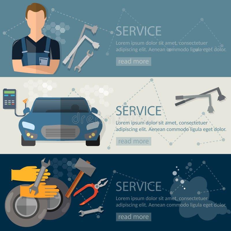 Cambio de aceite auto del servicio del neumático de la reparación auto de la bandera del servicio libre illustration