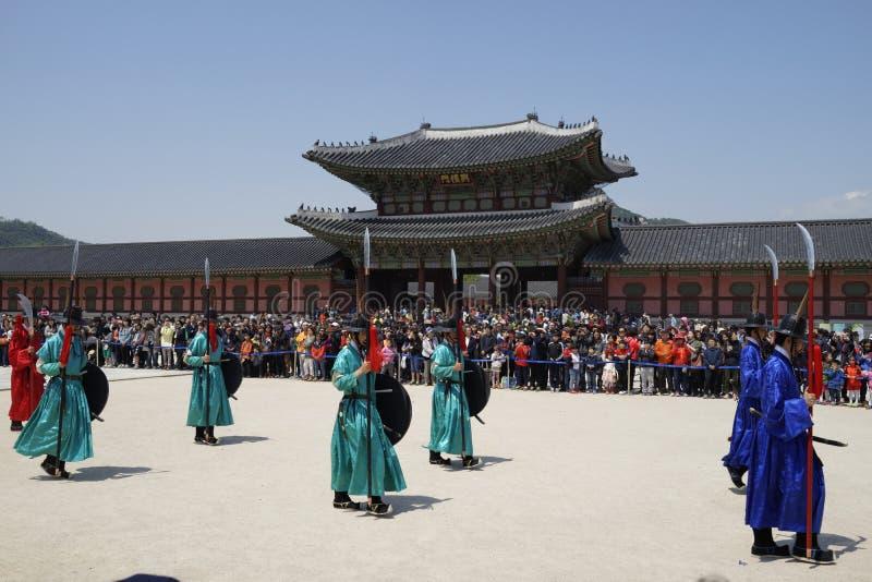 Cambio de la ceremonia del guardia, Corea fotos de archivo libres de regalías