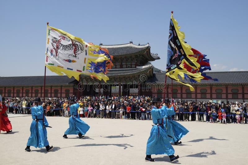 Cambio de la ceremonia del guardia, Corea foto de archivo