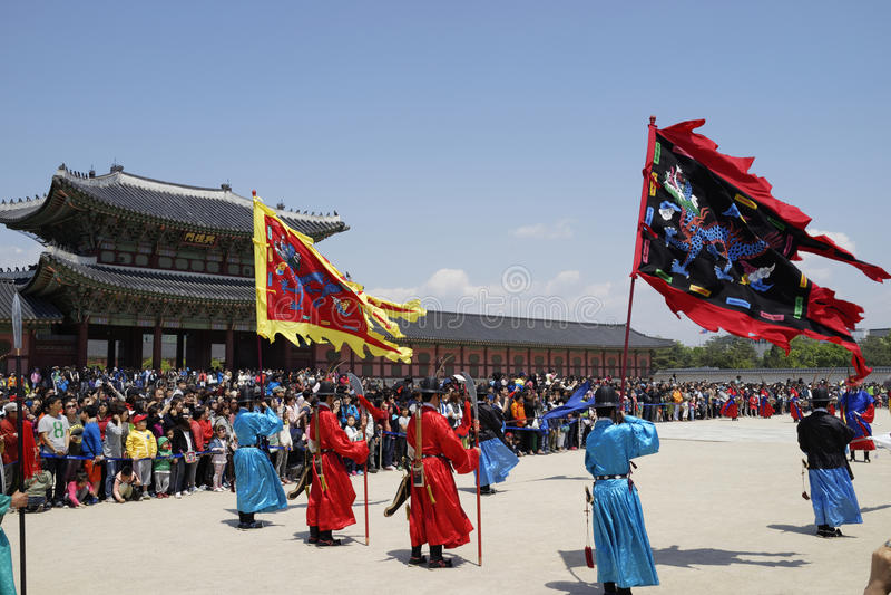 Cambio de la ceremonia del guardia, Corea fotos de archivo
